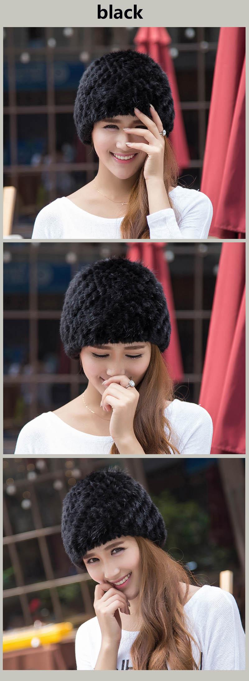 mink hat black colors