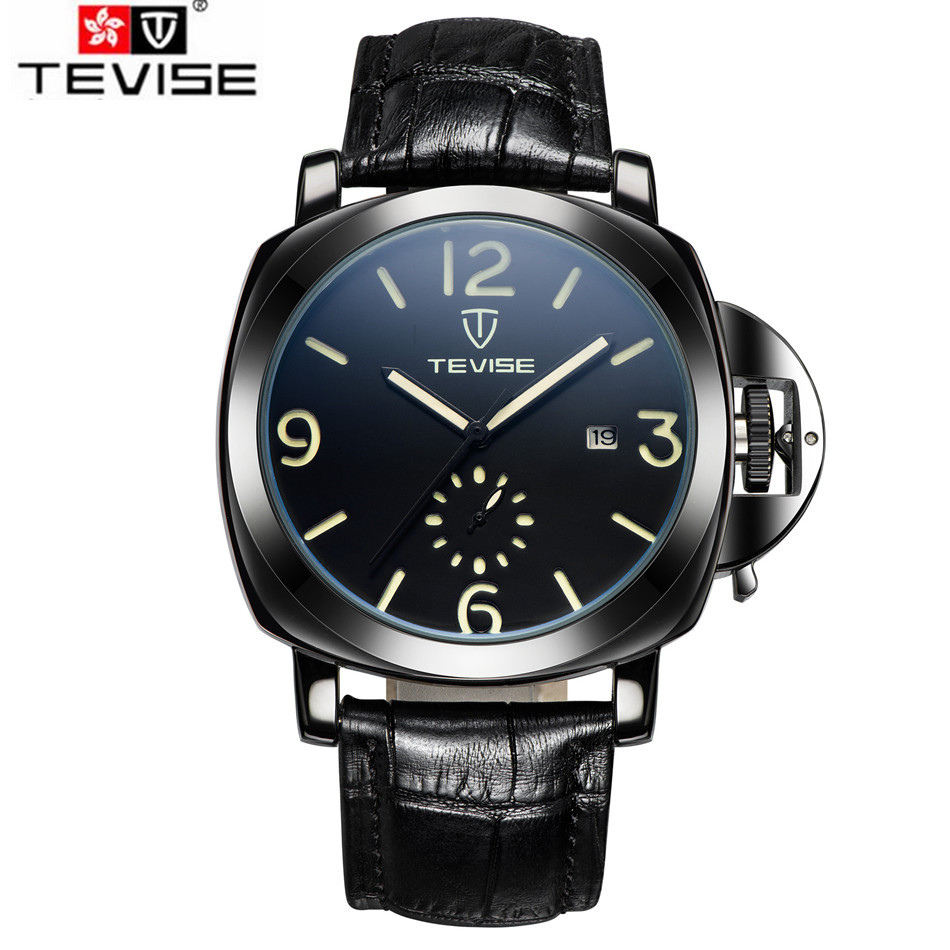 Tevise Classic Relogio Masculino Mens Day Square Auto Mechanical Kol Aaati Watch PU Leather Wristwatch Gift Box Free Ship<br><br>Aliexpress