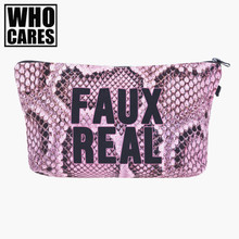 Faux real croco pink Cosmetic Bags 3D Printing Travel Makeup bag Small bags Gift trousse de maquillage make up bag pencil case(China)