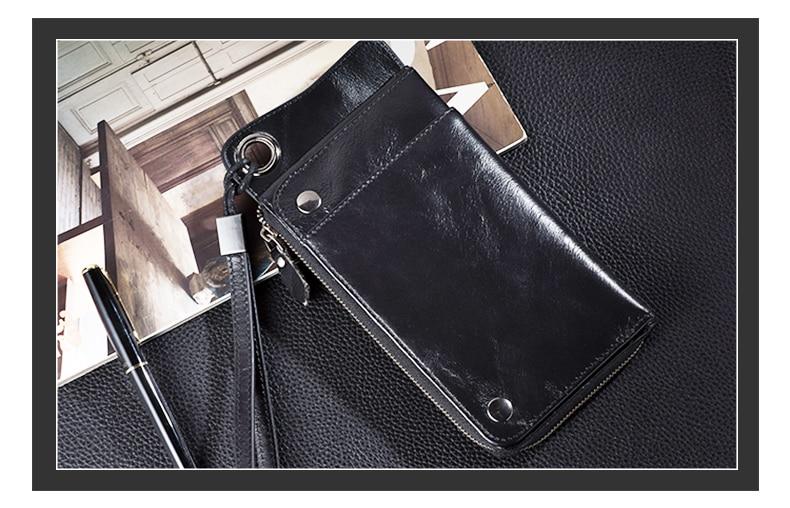 LUENSRO Wallet Leather Vintage Wallets Men Genuine Leather Wallet Zipper Card Holder Purse Long Coin Purse Money For iPhone7S (20)