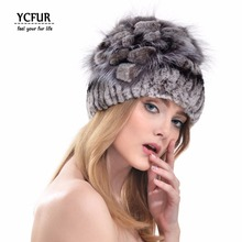YCFUR 2016 Winter Women Fur Hats 6 Colors Knit Real Rex Rabbit Fur Caps Silver Fox Fur Trims Fur Beanies Hats Winter YH189-2