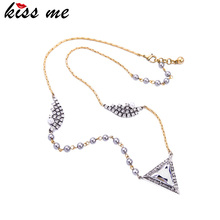 Irregular Crystal Triangle Pendant Necklace New Design Fashion Jewelry Modern Women Party Necklace
