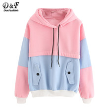 Dotfashion Color Block Drawstring Hooded Tops Pink and Blue Pullovers Women Long Sleeve Patchwork Sweatshirt(China)