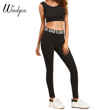 Wendywu Top Fashion Letter Printed Mid Waist Stretch Black Bodycon Long Leggings for Women(China)
