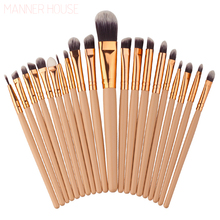 MANNER HOUSE 20Pcs/Sets 2017 New Eye Shadow Foundation Eyebrow Lip Brush Makeup Brushes Tools 8 Colors Optionals(China)