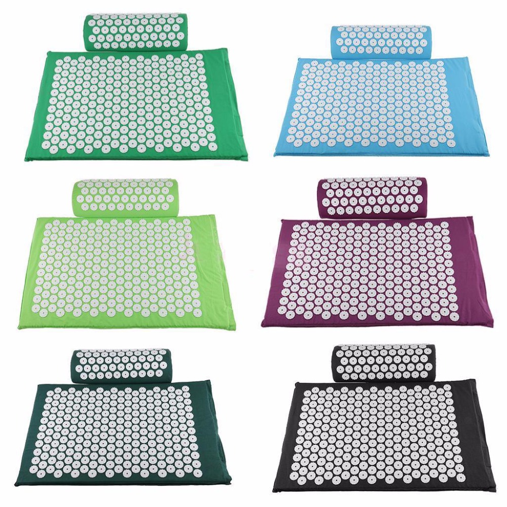 Stock Clean!!Acupressure Mat and Pillow two in One set Body Head Back Foot Massage Cushion Shakti Mat Yoga Message free shipping(China (Mainland))
