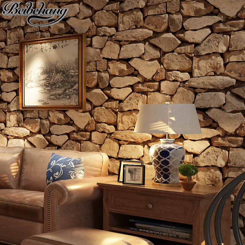 beibehang 3D Stereo Thickness Antique Stone Wallpaper Stone Chinese Retro Tea House Living Room Restaurant Background Wallpaper<br>