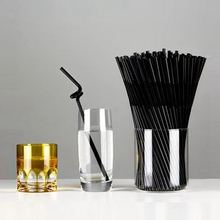 80Pcs Hot Plastic Black Flexible Bendy Drink Straws Home Party Birthday Wedding Drinking Decorative Accessory