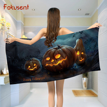 FOKUSENT Polyester Cotton Microfiber Bath Towel Printed Halloween Pumpkin and Witch Quick Drying Soft Beach Towel(China)