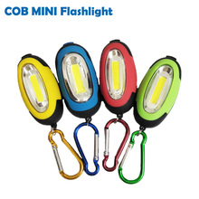 COB LED Flashlight Light 3-Mode Mini Lamp Key Chain Ring Keychain PVC Lamp Torch Keyring Green/Red/Yellow/Blue(China)