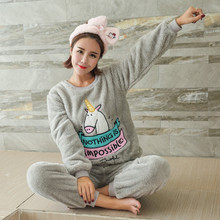 Adult Women kawaii Unicorn Flannel Pajama Suit Sets Cartoon Animal Thick Bundle Plush Pijama Costume Nightgown Sleepsuit Pink(China)