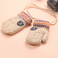 Baby Warm Winter Gloves Kids Children Thicken Soft Wool Spring Keep Warm Fingerless Wrist Gloves Mittens Long Ropes Hot Guantes(China)