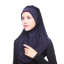 Muslim Women Hijab Headwear Full Cover Underscarf Islamic Scarf Black Shawl Arabic Headband Print Cap Wrap Shawl(China)
