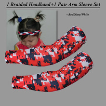 2017 Navy Blue/Red/White 1 pcs braided non slip headband and 1 pair camo arm sleeve set(China)