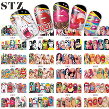 12 Designs Nail Sets Fashion Sticker Full Cover Lips Cute Printing Water Transfer Tips Nail Art Decorations 2017 New BN349-360