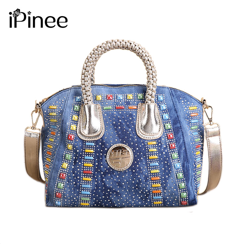 iPinee Fashion Women Bag Denim Handbag Large Capacity Blue Shoulder Bag Candy Color Rivet Women Messenger Bags<br>