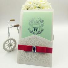 20pcs/pack Classic Elegant Wedding Invitations Cards Blank Inside Page with Envelope Ribbon Crystal Invitation Card