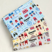 50x40cm 3pcs Blue Yellow Grey Classic UK solider & London Bus 100% cotton twill cotton Fabric Bundle for sewling doll cloth