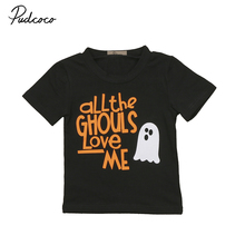Letter Print Short Sleeve Baby T-Shirt Hallowmas Newborn Infant Toddler Baby Kid Boy O-Neck Clothes Black Cotton Tshirt(China)