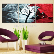 3pcs/set Frameless Colorful Tree Pictures Painting By Numbers DIY Digital Oil Painting Natural Scape On Canvas Home Decor HD0471