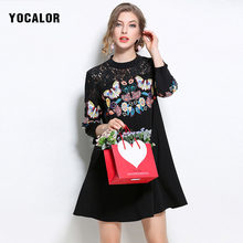 YOCALOR Embroidery A-line Party Dresses Big Sizes Loose Slim Lace Knitted Autumn Dress Female Women Vintage Plus Size For Fat