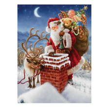 30 x 40cm Christma  Santa Claus Chimney Embroidery Mosaic Craft Kits 5D  DIY Diamond Painting Cross Stitch Home Decor