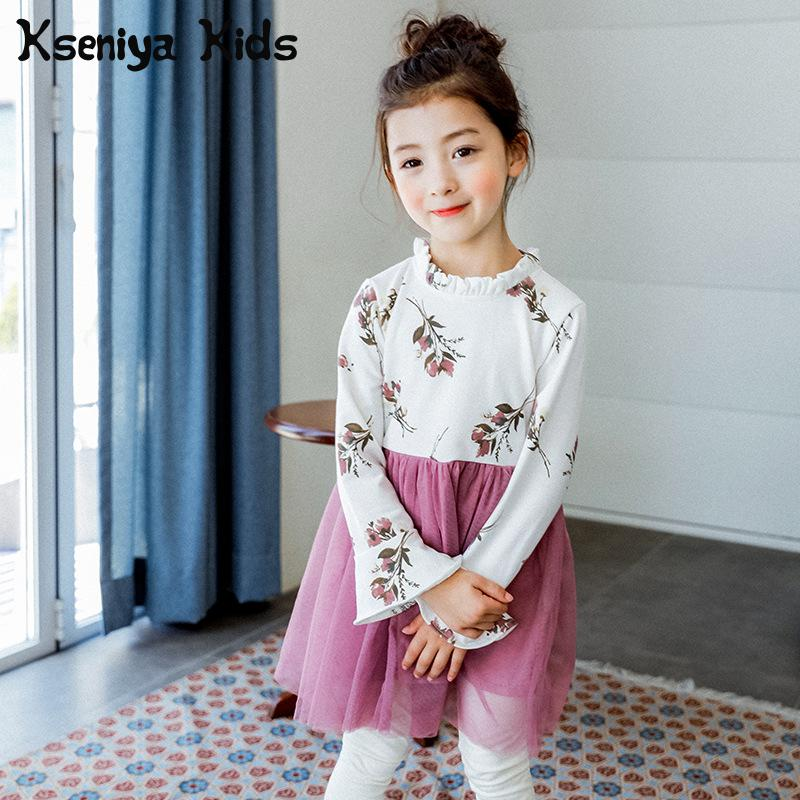 Kseniya Kids Korean Girls Dress Spring 2018 New Printing Mesh Stitching Baby Girl Long Sleeved Dress Princess Lace Party Dresses<br>