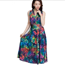 Buy new summer 2016 middle-aged women clothing fashion v-neck loose big yards slim sleeveless vest print long dress AE172 for $16.26 in AliExpress store