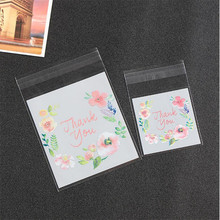 100pcs 4 Sizes Thank You Candy Cookie Bags Wedding Birthday Party Craft Self-adhesive Plastic Biscuit Packaging Gift Bag