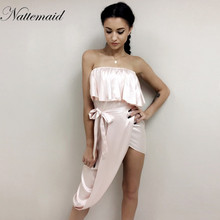 NATTEMAID 2017 New Arrival Women Ruffled Satin Party Dress Ukraine Summer Female Sexy Club Silk Side Split strapless Dresses(China)
