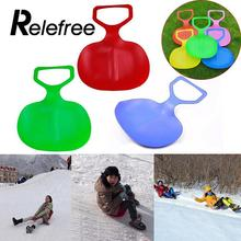 Relefree Sports Winter Adult Kids Thicken Plastic Skiing Boards luge adult Ski Pad Children Snow grass sand Sledge Sled(China)