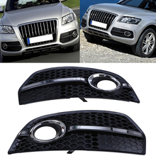 Racing Grill Grille Fog Lights Covers Fit For Audi Q5 Right&Left Auto Replacement Paint Black Lower Grills Car-Styling 1 Pair