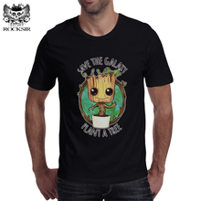 ROCKSIR New Guardians of the Galaxy 2 Baby Groot Men T-shirt Anime Funko Pop Groot Male Funny Tee Shirt Hipster Homme Brand Tops(China)