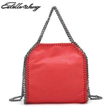 2017 New Import Pvc Leather Totes Handbags 3 Chain Crossbody Bags Mini Handbag Pink Black Women's Messenger Bag Famous Brands(China)