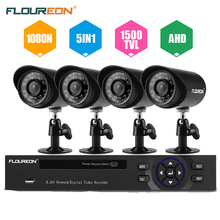 FLOUREON 4CH 1080N 5 IN 1 HDMI CCTV AHD TVI DVR 4pcs 1500TVL outdoor IR-Cut Bullet Security Cameras Security Surveillance set