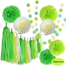 20pcs/set Green Paper Pom Pom (10'' 12'') Hanging Tissue Paper Flower Tassel Garland Wedding Outdoor Birthday Party Decor Craft(China)