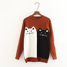 Sweater Women 2017 Kawaii Cat Animal Jacquard Knitting Poncho Femme Long Sleeves O-neck Jersey Mujer Inviern Jumper Sweaters(China)