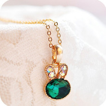 ea Green Rabbit control over imitation crystal cute bunny necklace chain clavicle 4ND04(China)