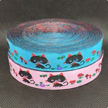 "2015 NEW  wholesale 5/8"" 10yards/lots Woven Jacquard Ribbon lace 16mm Pink and blue lovely cat KT2015051203"