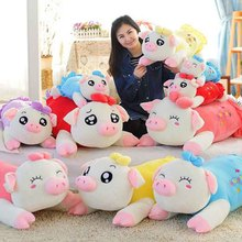 50/60/70cmCreative coloured pig Plush Toys sleeping Pig pillow strip cushion doll birthday girl Stuffed PP Cotton kids toys(China)