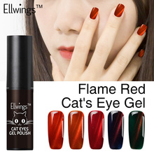 Ellwing 1pcs 2017 Newest Fire Red Cat Eye Nail Gel Polish Soak Off Uv Gel Varnish 3D Shining Colors Magnet DIY Gel lacquer