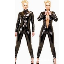 2015 Hot Sexy Black Catwomen Jumpsuit PVC Spandex Latex Catsuit Costumes for Women Body Suits Fetish Leather Dress Plus Size XXL(China)