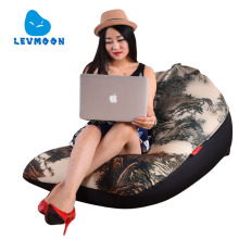 LEVMOON Beanbag Sofa landscape painting Seat Zac Comfort Bean Bag Bed Cover Without Filling Cotton Indoor Beanbags Lounge Chair(China)