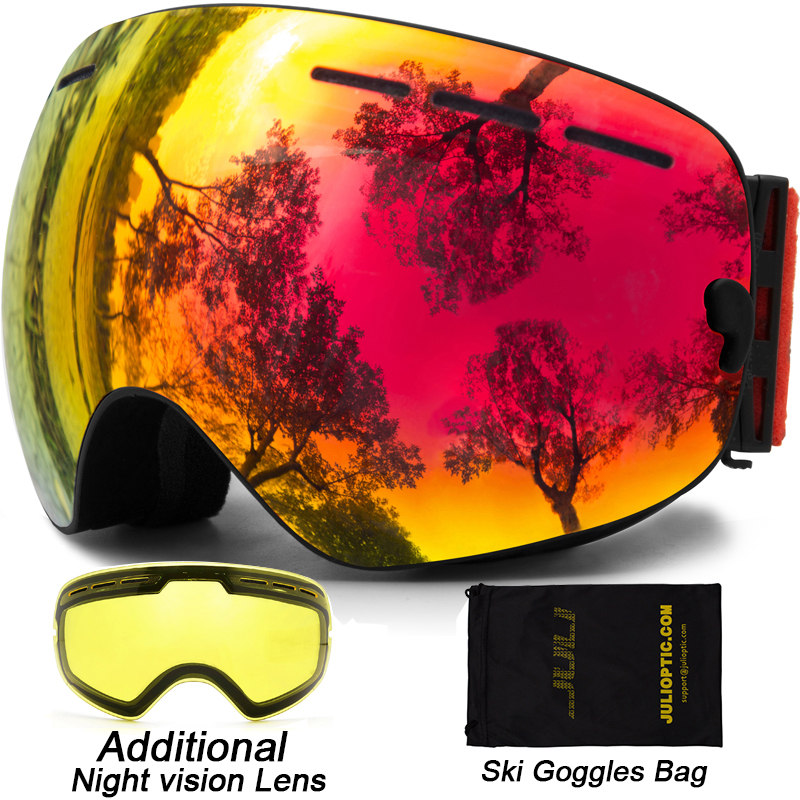 Ski Goggles,Double Lens Snowboard Goggles Anti-fog UV Protection Unisex Snowmobile Skiing Skating With Night Vision Ski Lens<br>