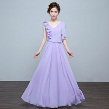 girls cheap formal long v neck lace up a line lace up bridesmaid dress lilac gowns brides maid dresses plus size H3568