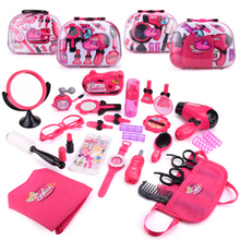 Girls Make Up Set Toys Pretend Play Simulation Cosmetic Bag Beauty Hair Salon Toy Makeup Tools Kit Children Pretend Play Toys(China)