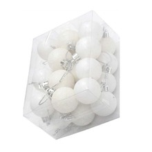 24Pcs Chic Christmas Baubles Tree Plain Glitter XMAS Ornament Ball Decoration White