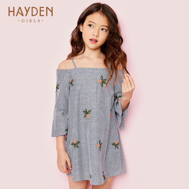 HAYDEN teenage stripped girls dress 2017 summer off shoulder sundress kids costume children party frock 7 9 11 13 girls clothing<br>