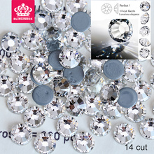 2058 High Quality Clear Hot Fix Rhinestone Flatback Iron On Hot Fix Crystal Strass Better Than AAAAA 14 Cut facets  Y2794
