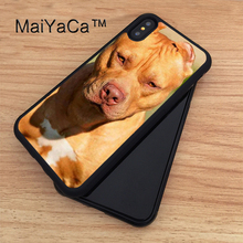 MaiYaCa Pit Bull Dog Breed Chocolate Soft TPU New Phone Cases For Apple iphone X Case For iPhone X Case Rubber Cover Capa(China)